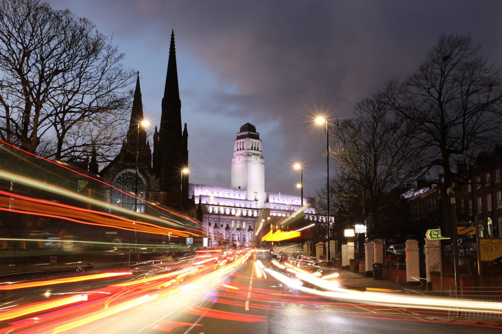University of Leeds at night